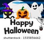 black cat  pumpkin hat and a...   Shutterstock .eps vector #1535856662