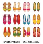 Stock vector women s shoes and sneakers vector illustrations set colorful female footwear items pack 1535863802