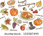 thanksgiving icon doodle vector ... | Shutterstock .eps vector #153587495