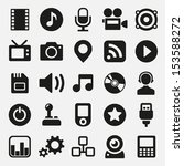 multimedia icons set | Shutterstock .eps vector #153588272