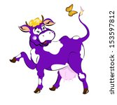 A Purple Cheerful Cow On The...