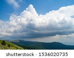 View of Shipka Pass from Buzludzha Peak. Shipka Pass - a scenic mountain pass through the Balkan Mountains in Bulgaria.