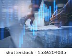 Small photo of Stock market report, business finance technology and investment concept. Abstract finance background, businessman analysing forex trading graph, financial data, market summary, city double exposure