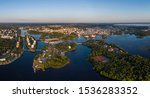 Aerial view of the Oulu city in the region of North Ostrobothnia in Finland