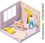 vector isometric construction... | Shutterstock .eps vector #1536283565