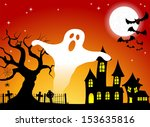 illustration of a haunted house ... | Shutterstock . vector #153635816