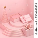 Holiday Christmas pastel color background with a gift box and podium display stand, 3d rendering. - stock photo