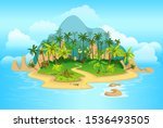 cartoon tropical island with...