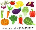 set of vegetable cartoon.... | Shutterstock . vector #1536539225