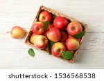 Basket With Apples On White...