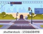 cartoon crosswalk. city streets ... | Shutterstock .eps vector #1536608498