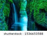 Waterfall In Forest  Takachiho  ...