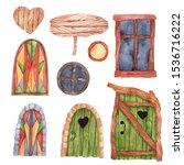 watercolor windows  doors and... | Shutterstock . vector #1536716222