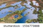 Aerial View Over Peat Bog...