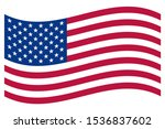usa flag vector. wavy flag usa... | Shutterstock .eps vector #1536837602