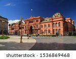 Small photo of BUENOS AIRES, ARGENTINA – APRIL 18: The Casa Rosada, seen here, is arguably the most prominent landmark located on the historic Plaza de Mayo in Buenos Aires April 18, 2019 in Buenos Aires, Argentina