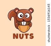 brown cartoon squirrel eat nuts ...