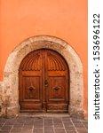 Old Wooden Door Orange Wall...
