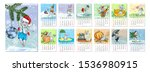 calendar 2020 year of the rat.... | Shutterstock .eps vector #1536980915
