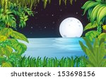illustration of a lake in the... | Shutterstock .eps vector #153698156