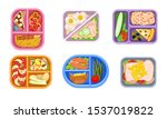 lunchbox containers set with... | Shutterstock .eps vector #1537019822