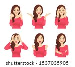 set of different emotions young ... | Shutterstock .eps vector #1537035905