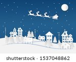 winter landscape with houses... | Shutterstock .eps vector #1537048862