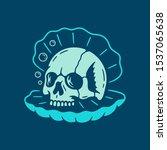 sea shell with skull blue...   Shutterstock .eps vector #1537065638