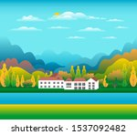 hills and mountains landscape ... | Shutterstock .eps vector #1537092482