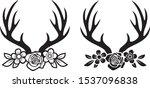 deer horns or antlers with... | Shutterstock .eps vector #1537096838