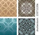4 retro backgrounds. Floral details. - stock vector