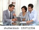financial consultant presenting ... | Shutterstock . vector #153711536