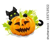 evil halloween pumpkin and... | Shutterstock .eps vector #153713522