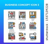 business concept icons set in...