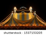 Circus tent at night with its...