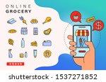order grocery online from app...   Shutterstock .eps vector #1537271852
