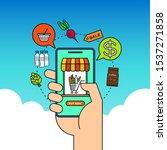 order grocery online from app...   Shutterstock .eps vector #1537271858