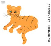 vector cute happy tiger... | Shutterstock .eps vector #1537303832