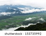 Wide view of East Rift Valley, Hualien, Taiwan. - stock photo