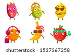 funny exotic fruit characters... | Shutterstock .eps vector #1537367258