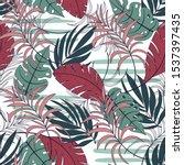 summer seamless tropical... | Shutterstock .eps vector #1537397435