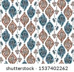 hand drawn indienne paisley... | Shutterstock .eps vector #1537402262