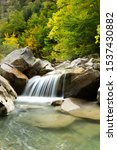 Stock photo waterfall in the jungle of irati navarra basque country 1537430882