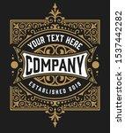 vintage logo with floral details | Shutterstock .eps vector #1537442282