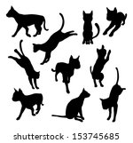 Stock photo a set of pet cat silhouettes including the cat playing jumping and walking 153745685