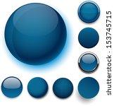 set of blank dark blue round... | Shutterstock .eps vector #153745715