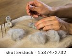 Young Women Felting A Koala...