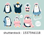 hand drawn vector set of cute... | Shutterstock .eps vector #1537546118