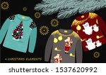 cute  funny sweaters with... | Shutterstock .eps vector #1537620992