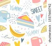 hand drawn sweet dessert... | Shutterstock .eps vector #1537660742